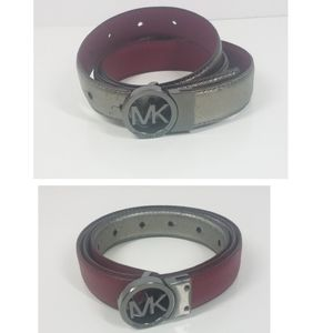 Michael Kors Reversible Leather Pink and Gray Belt